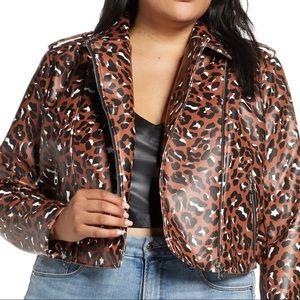Cheetah print moto leather jacket